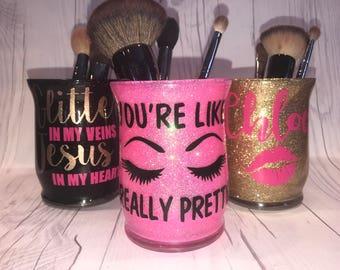 Personalized Makeup Brush holders/ Custom Makeup Brush holder/Glittered Makeup jars
