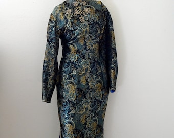 1950s Silk Wiggle Dress / asian floral print cocktail sheath / vintage bombshell cheongsam size L