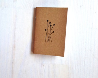 Small Notebook: Flowers, Nature, Woodland, Reeds, Hipster, Cute, Wedding, Kids, For Her, For Him, Brown, Mini Journal, Stamped, Unique KR203