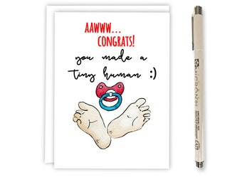 Baby Congratulations - Card for Baby - New Baby Card - New Baby Girl Card - New Baby Boy Card - Tiny Human Congrats