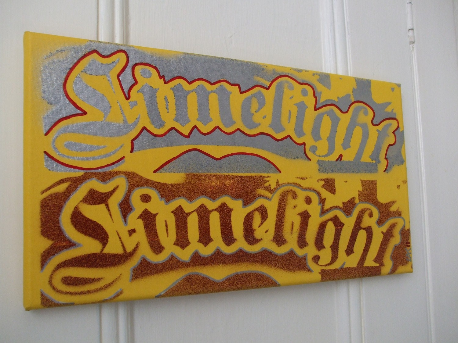 Limelight typography painting stencil art spray paint yellow