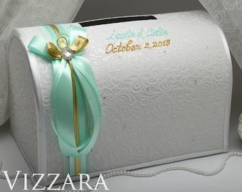 Wedding card holder Mint wedding Wedding gift card holder Mint and gold wedding Card holder for wedding Mint green and gold wedding