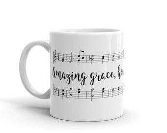 Coffee Mug, Ceramic Mug, Quote Mug, Amazing Grace How Sweet, 11oz, Gift Idea,Typography Mug, Southern Mug, Farm mug, Farmer Mug, Farm Girl