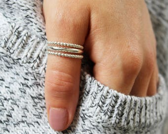 Bee Band Stack Thumb Rings / Sterling Silver Thumb Rings / Set of Three Rings / Super Comfortable