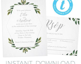 Printable wedding invitation set - Gorgeous blue and green watercolor- instantly edit!