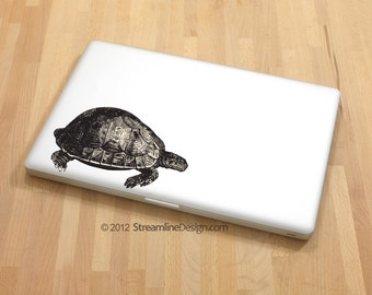 Highly Detailed Woodcut Style Turtle Decal | laptop decal macbook decal car window decal turtle laptop sticker turtle sticker for laptop