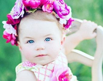 Child Flower Crown - Custom Made - Floral Headband - Kid Accessory - Photo Prop - Child Flower Accessory - Tie Back Flower Crown