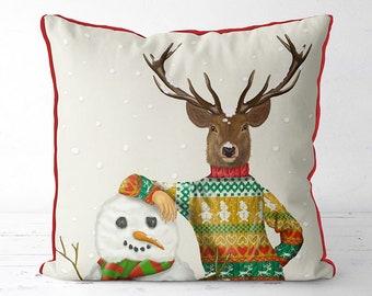 Deer Pillow cover Christmas pillow cover christmas deer ski lodge decor cabin decor funny christmas cushion animal pillow cover deer gift