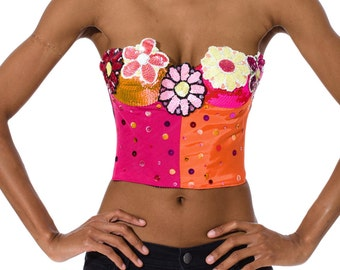1990-1994 Flower Embroidered Bustier Size: XS