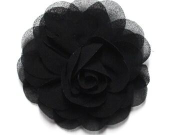 Black Chiffon Rose Hair Flower Clip