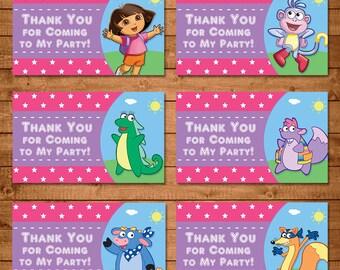 Dora The Explorer Party Tags Pink - Dora Birthday Party Favor Tags - Dora The Explorer Party Favors - Dora The Explorer Birthday Printable