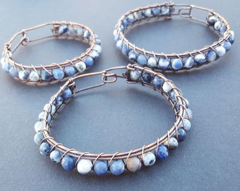 Sodalite Bracelet for Women, Sodalite Jewelry, Handmade Wire Wrapped Oxidized Copper Bracelet, Blue Natural Stone Bracelet, Gifts for Women
