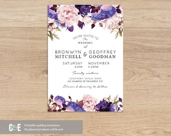 Floral Wedding Invite, Purple Wedding Invitations, Contemporary Wedding Invitation, Modern Wedding Invitation, Printable PDF Download