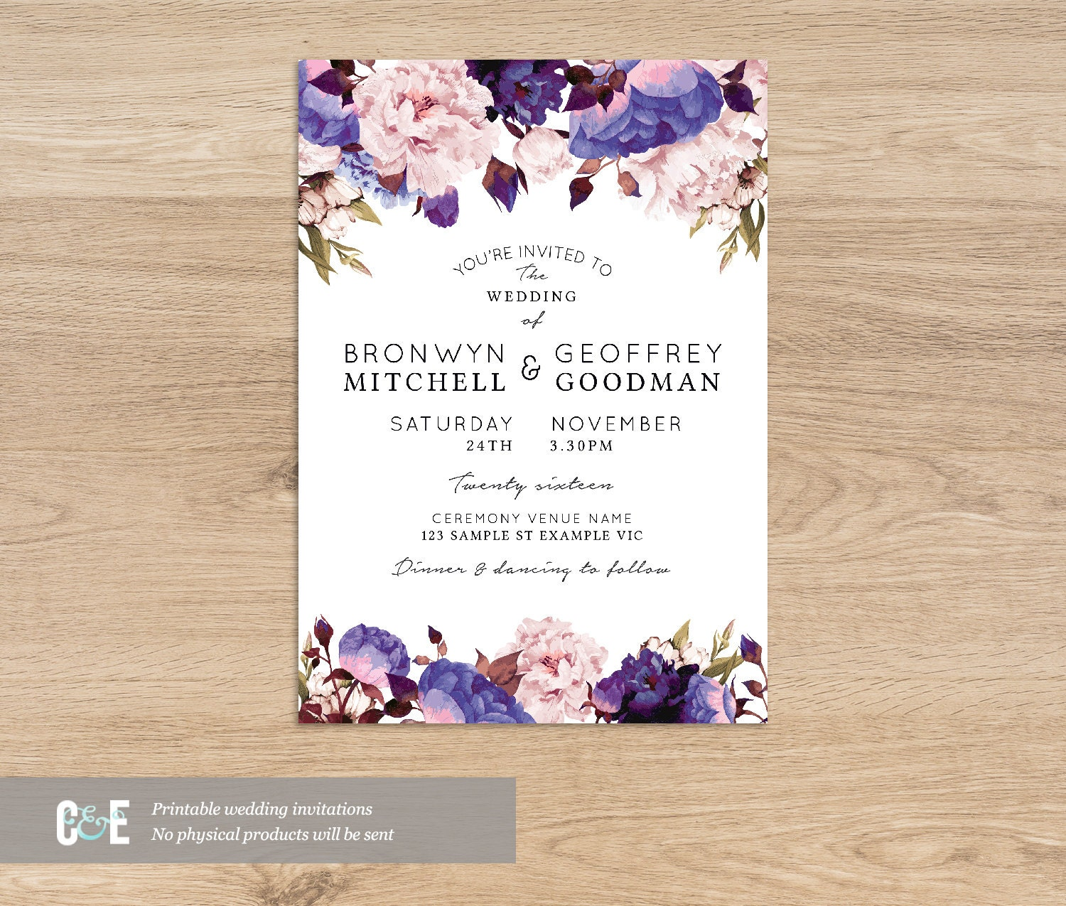 Floral Wedding Invite Purple Wedding Invitations