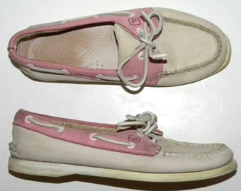Vintage Sperry Pink & White Topsider Boat Shoes / Leather Dock shoes / Women's 7.5 M