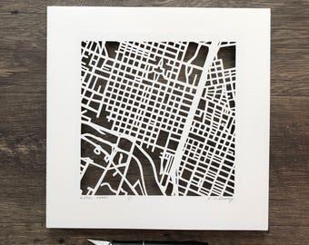austin, east austin, old west austin or tarrytown, hand cut map, 10x10