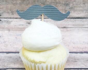 Gray Mustache Cupcake Topper • Little Man Shower • Mustache Cutout • Mustache Party Supplies • Little Gentleman Party •Gender Reveal
