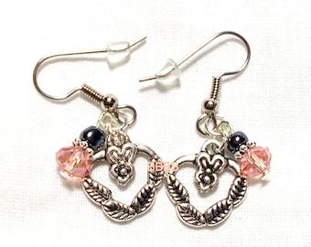SALE Heart Crystal Earrings