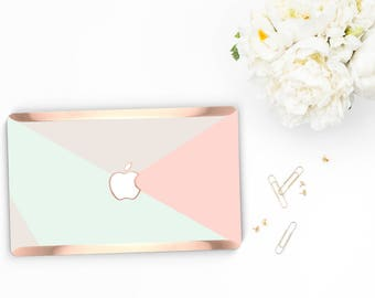 Macbook Pro 13 Case Macbook Air Case Laptop Case Macbook Case . Pastel Shades with Rose Gold Chrome Edge            - Platinum Edition