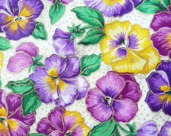 """Pansies Cotton Fabric with Gold Print -  1 Yard Remnant 45"""" Wide - Cranston Print Works - Floral Quilt Fabric - Purple Pansies Fabric"""