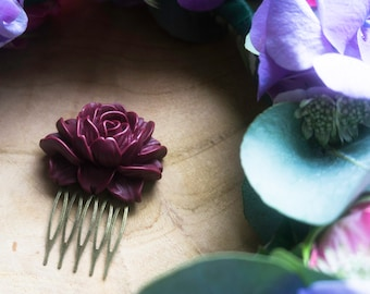 """""""Rosie"""" bronze and Burgundy cabochon decorative hair comb"""