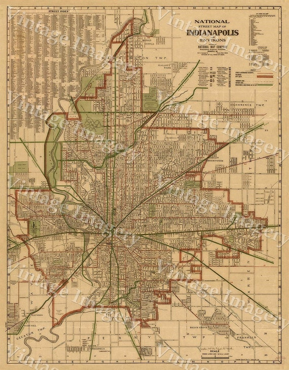 INDIANAPOLIS Map Print Old Antique Restoration Hardware Style Indianapolis Street Map Indy Map Fine Art Print Indiana Wall Décor