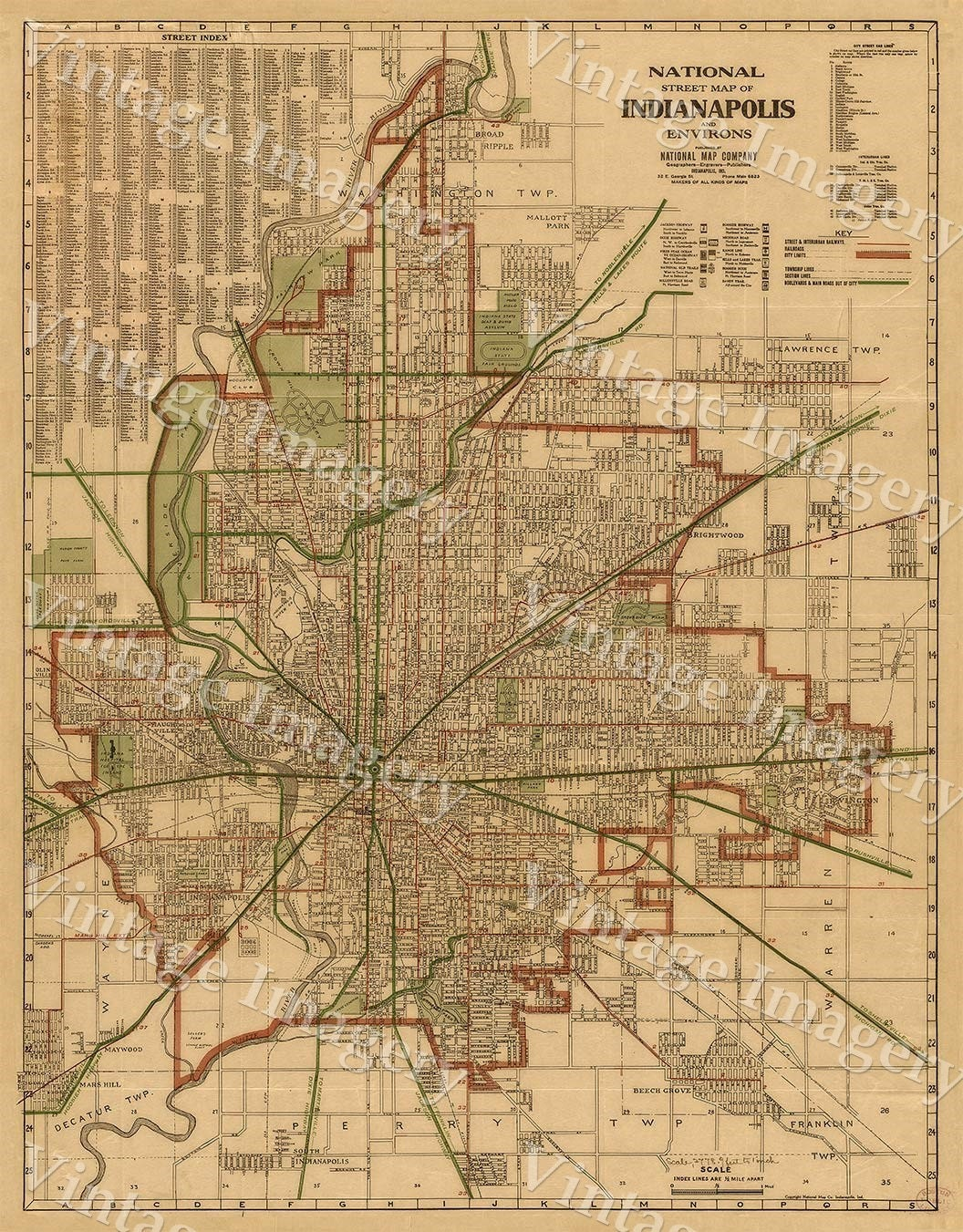 Indianapolis Map 1921 Old Antique Restoration Hardware Style