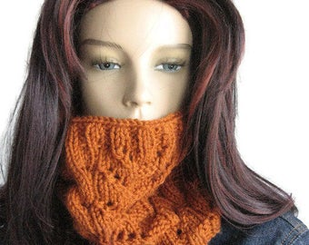 Rust Lace and Cables Cowl, Knit Neckwarmer, Knit Cowl, Womens Accessories, Vegan Knits, Winter Accessories