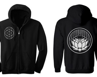 Geometric LOTUS Hoodie Men's and Women's Black Hooded Sweatshirt Sacred Geometry