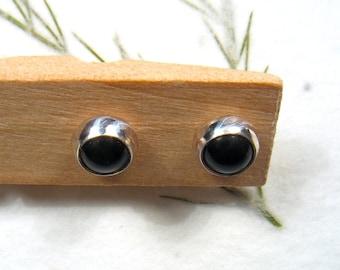 5mm  black Onyx cabochon stud earrings set in Sterling silver ,casual earrings, silver post earrings.