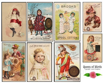 Eight Victorian Sewing Trade Cards thread children vintage antique instant download mixed media collage sheet journal scrapbooking decoupage