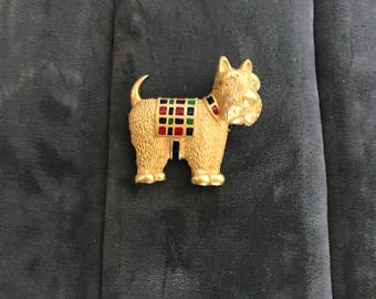 Carolee Scottie Dog Pin with Plaid 1990s