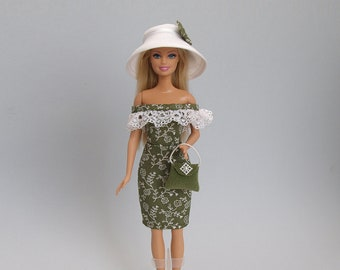 Barbie clothes - dress, handbag, hat- handmade