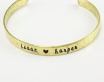 Golden Bracelet-Yellow Brass Bracelet-Name Bracelet-Cuff Bangle-tagyoureitjewelry-custom jewelry-Bracelet with names-Stacking Bracelet-brass