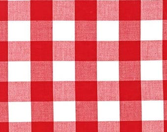 "Red 1"" Plaid Cotton, Carolina Gingham, Red Scarf Fabric, Quilting fabric, Apparel Fabric, Plaid cotton Scarf, Robert Kaufman"