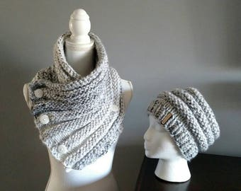 Ribbed Button Cowl and Hat Set, White Marble Chunky Scarf, Gray Infinity Scarf, Crochet Stylish Cowl, Women's Matching Cowl Set, Winter Cowl