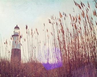 "Landscape Photography // Montauk Lighthouse Long Island // Beach Grass Photography // Lighthouse Print Nautical Decor  ""Montauk Light"""