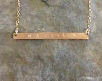 Personalized Long Bar Necklace - Available in 14kgf, sterling silver and 14k rose gold filled, custom bar necklace