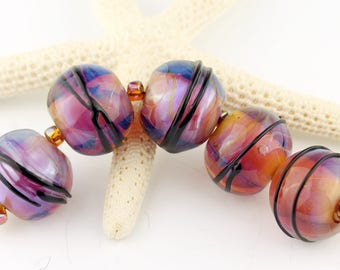 Lampwork Beads Set, Iridescent Hot Pink, Topaz, Purple Glass SRA