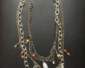 Layered Chain Necklace With Beads