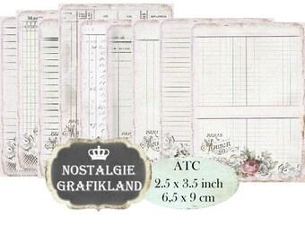 French Ledger printable digital Journal Organizing Shabby Chic Vintage ATC vintage Instant Download Notepad digital collage sheet S085