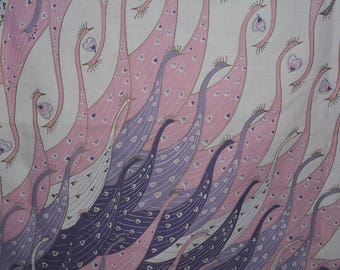 Vintage fabric Novelty peacocks Bohemian border print 70s MC Escher style purple pink lavender peacock feathers abstract fabric