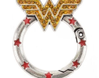 Wonder Woman Emblem Hinged Loop Ring Jewelry Making Supplies