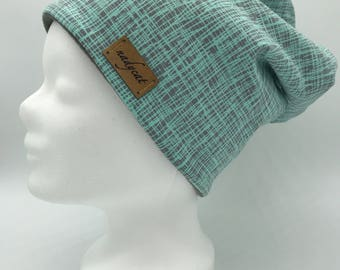 Mint stripes beanie (inside fleece)
