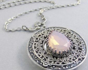 Blush Maiden,Vintage Necklace,Pink Jewelry,Pink Locket,Locket,Silver Locket,Pink Necklace,October Birthstone,October valleygirldesigns.