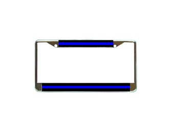 Police Thin Blue Line Chrome Metal License Plate Frame Car Tag Holder Auto Gift Support Law Enforcement