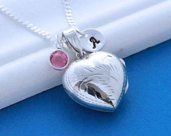 Locket. Solid sterling silver Large Heart locket necklace, Silver Locket Pendant necklace - lockets jewelry. 2 Custom charms Included. R-23