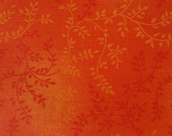 """Orange vines with leaves 108"""" wide back 100% cotton fabric"""