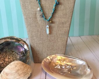 Seaside Charm Necklace with Opal Pendant