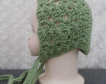 Handmade crochet baby shell stich bonnet